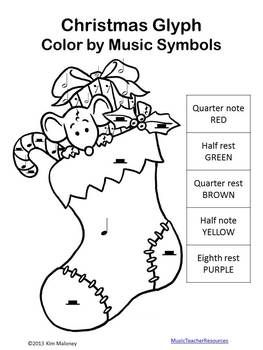 Music Symbols Christmas Glyph Your students will enjoy coloring this lovely Christmas picture using their knowledge of music symbols!