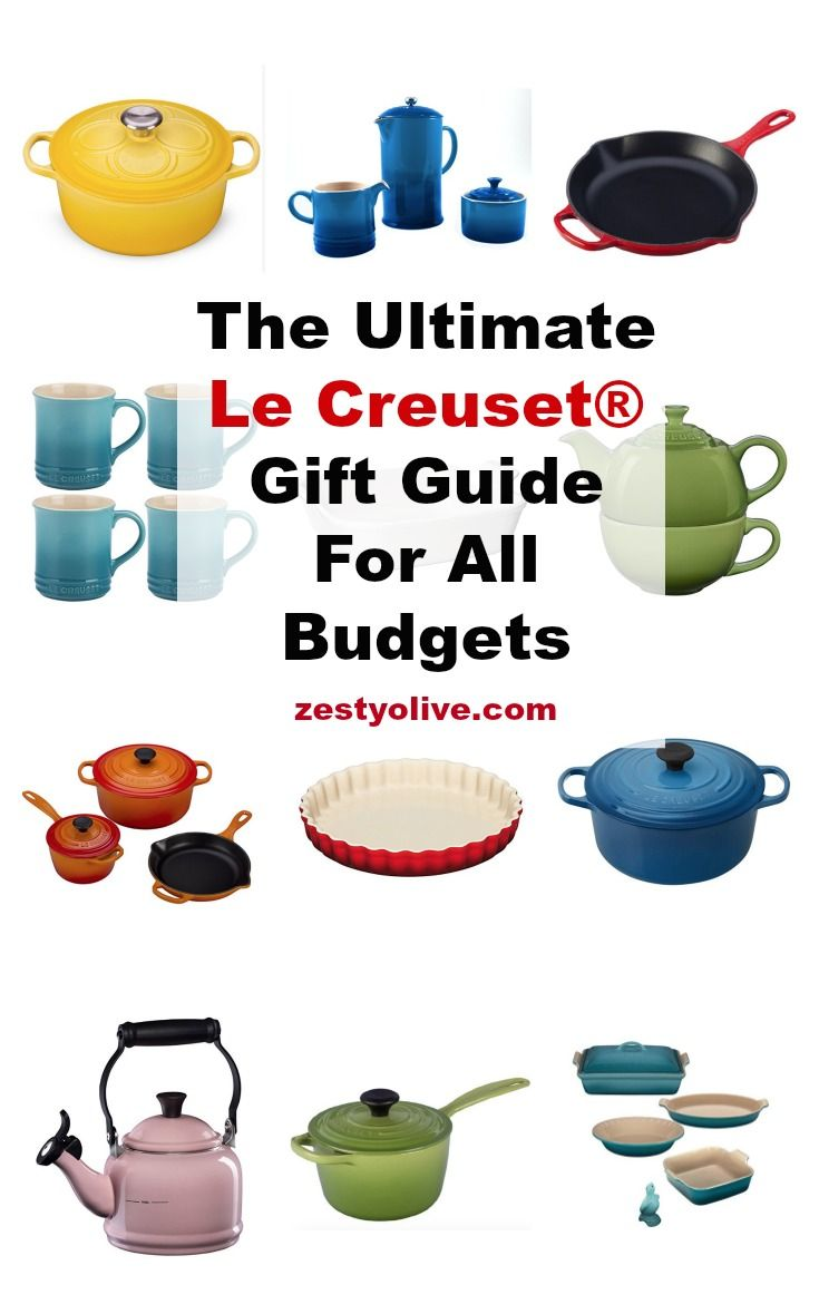 The Ultimate Le Creuset® Gift Guide For All Budgets #LeCreuset enameled #castiiron #cookware is hand-made in France and is known world-wide for its superior performance. #kitchen #cooking #recipes #giftsforher #giftguide #dutchoven #skillet #enamel