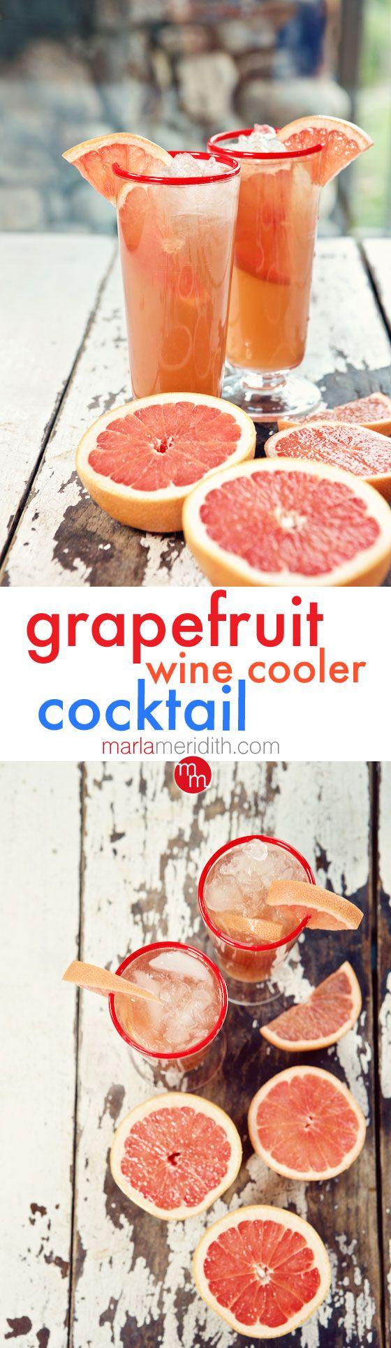 Grapefruit Wine Cooler Cocktail | MarlaMeridith.com ( @marlameridith )