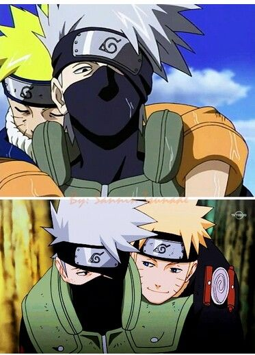 Naruto and Kakashi.  Check out my Naruto fanfiction story The Man That Disappeared: https://www.fanfiction.net/s/9928492/1/The-Man-That-Disappeared