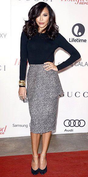Michael Kors Fall / Winter neutrals. Love the long peplum tweed pencil skirt!