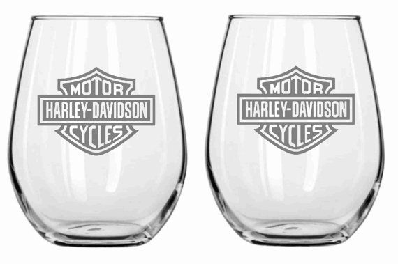 Harley Davidson Glass Set of 2 Chose from Wine by WulfCreekDesigns, $29.95