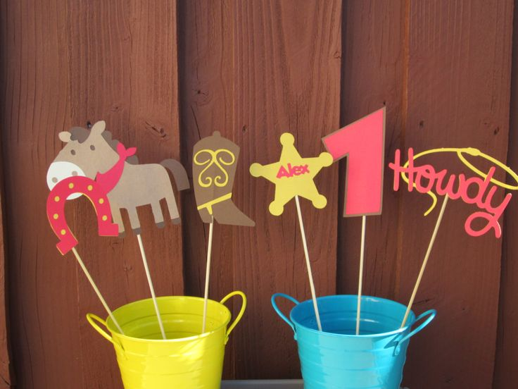 Cowboy Western Centerpiece/Table Decoration Personalized - Set of 6 by LittleBirdiPaperShop on Etsy