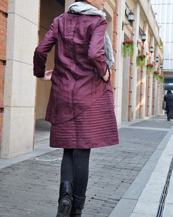 Layered Pleated Linen Dress in Purple/ Winter by camelliatune
