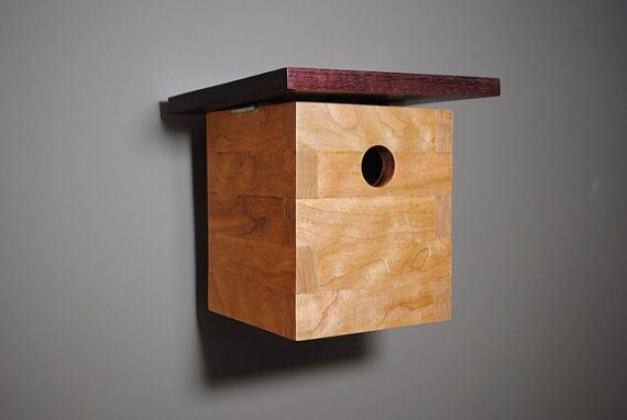 Modern birdhouse cherry and purpleheart by for Song bird house plans