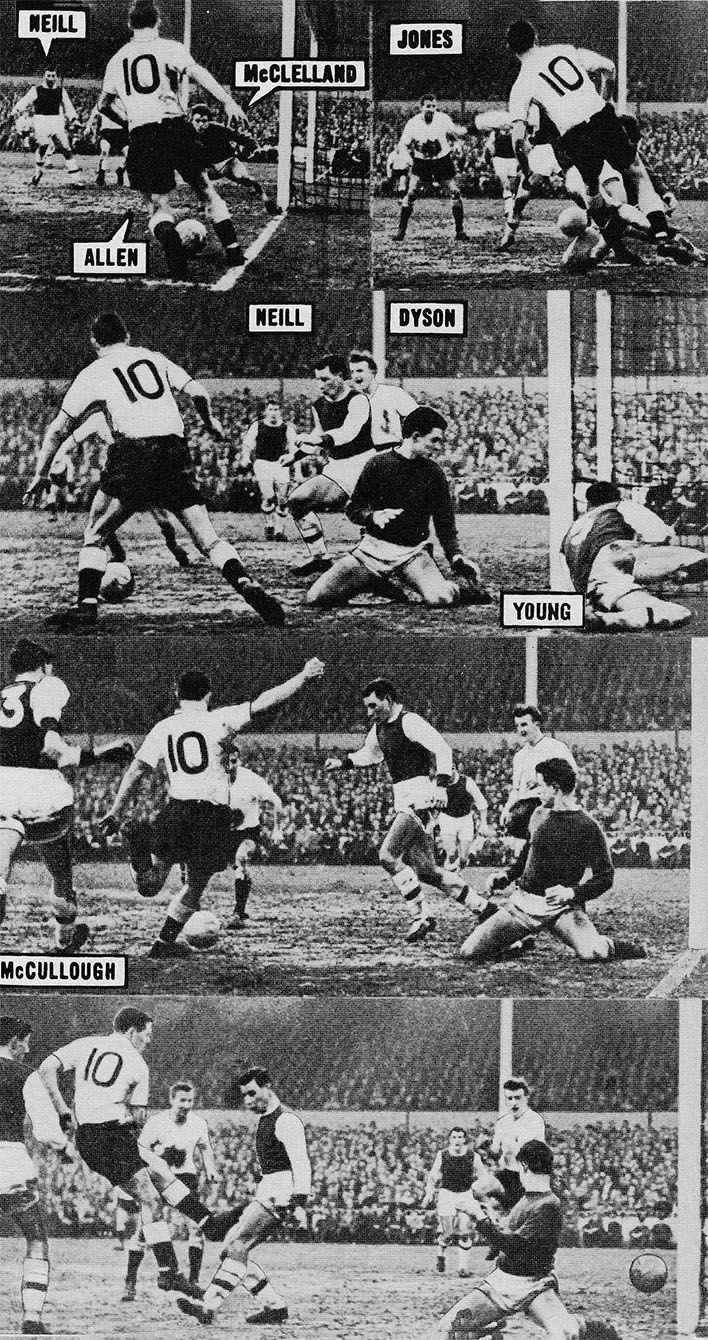 21st January 1961. Tottenham Hotspur inside forward Les Allen cutting in from the wing to score against Arsenal, at White Hart Lane.