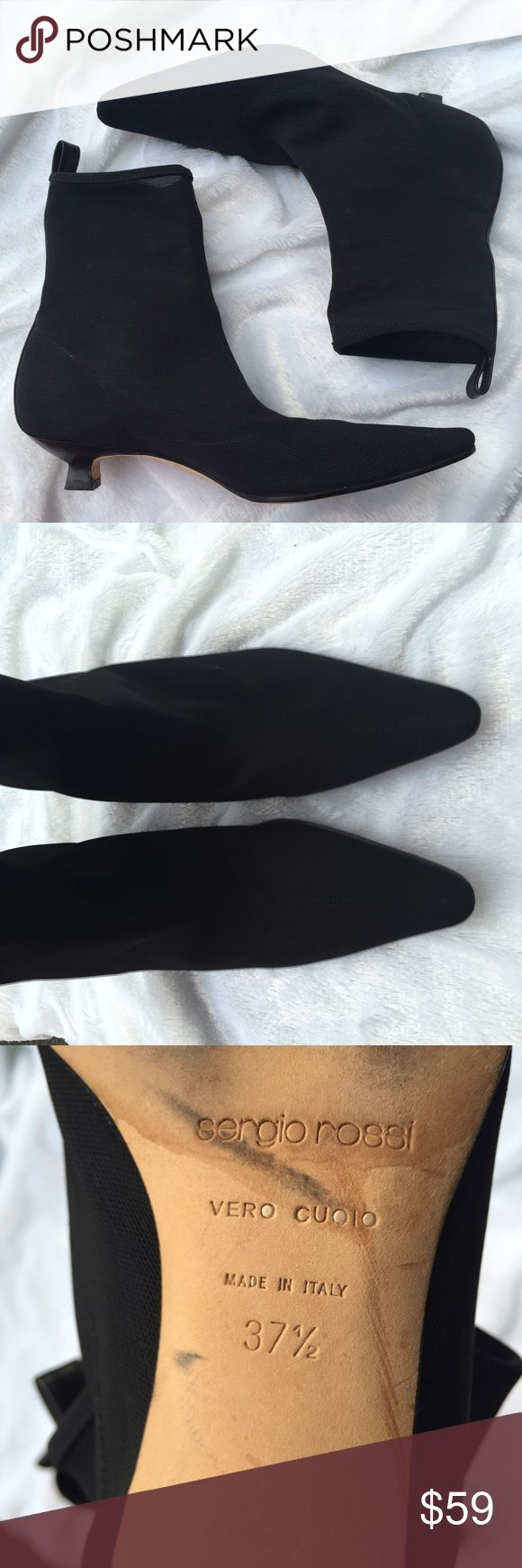 "Sergio Rossi black booties kitten heel 7.5 Terrific condition. Stretch fabric upper, leather trim, insole and sole. Mod, flawless and cute af. 37 1/2 which I believe is us 7 in this designer. 1.25"" heel. Sergio Rossi Shoes Ankle Boots & Booties"