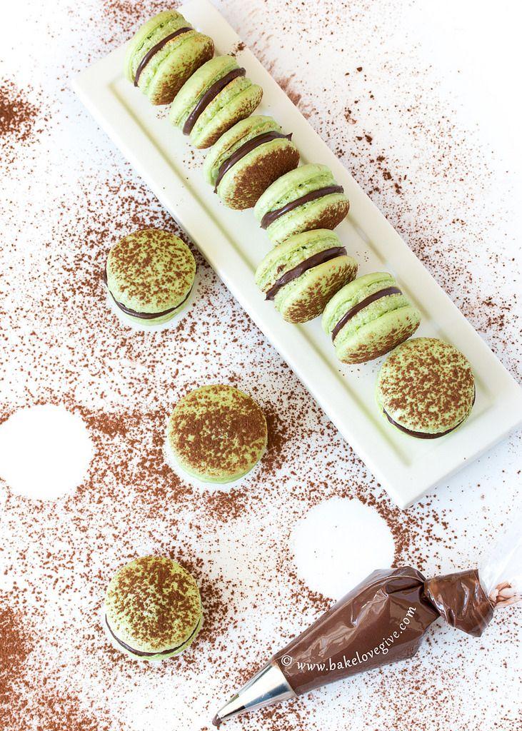 Menta del chocolate francés Macarons