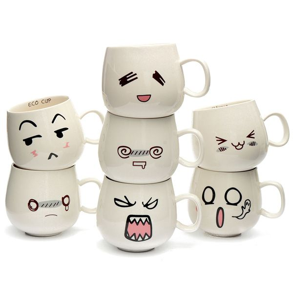 300ml Creative Cute Expression Ceramic Cups Cute Face Mug Tea Coffee Milk Cup