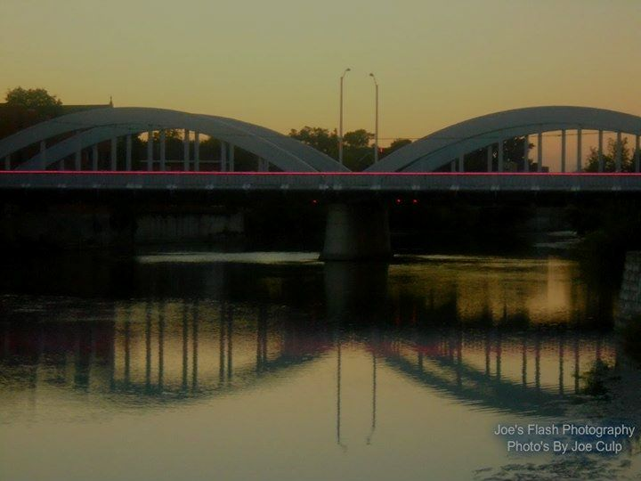 A very stunning evening on the Moira river at the bridge street bridge Belleville Ontario