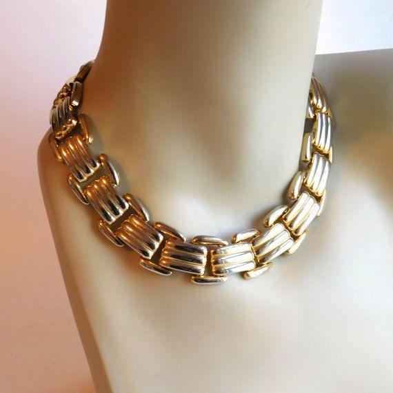 Vintage Goldtone Flat Mid-Century Link Necklace  by vintagedazzle