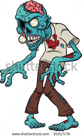 Cartoon zombie. Vector illustration with simple gradients. - stock vector