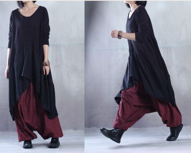 Women Cotton Knitting Irregular Plus Size Loose Fitting Dress - Buykud- 1