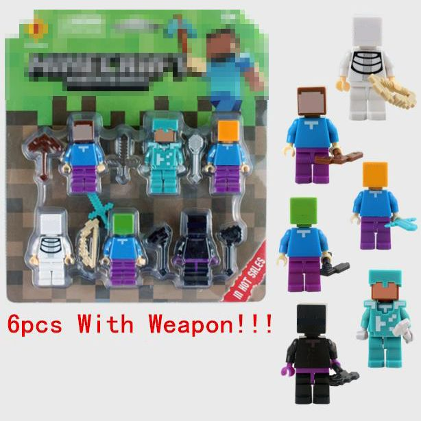 6pcs/set Minecraft Toy With Weapon Hanger Creeper //Price: $15.00 & FREE Shipping //     #minecraft
