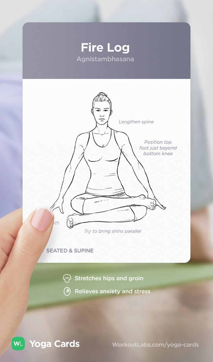 HOW TO: Fire Log yoga position – visual workout sequence pose and benefits guide for beginners from the YOGA CARDS deck by WorkoutLabs: http://WLshop.co