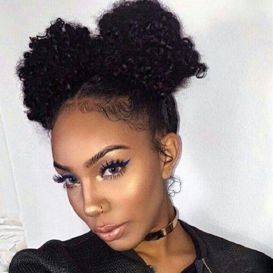 Two Pom Poms Short Natural Hair Styles Medium Length Hair Styles Hair Lengths