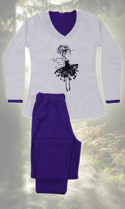 Womans Cotton Pajamas, in white and purple tones, with the dansing balarina!