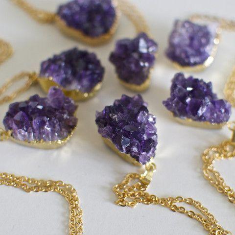 'Starry-eyed' druzy amethyst crystal necklace