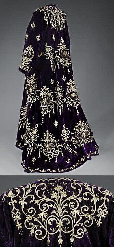 'Bindallı entari': wedding dress, from Edirne. Late-Ottoman, urban style, early 20th century. Belonged to a Jewish family. Goldwork on velvet. Embroidery technique: 'sarma' / 'Maraş işi'. (Israel Museum, Jerusalem).