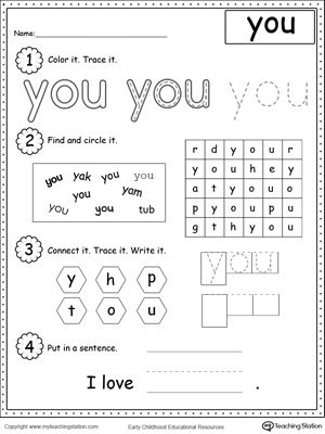 Learning Sight Word YOU: Practice recognizing the sight word YOU with My Teaching Station Learning Sight Words printable worksheet. Your child will practice recognizing the letters that make up the word, tracing, writing and finally putting the word in a sentence.