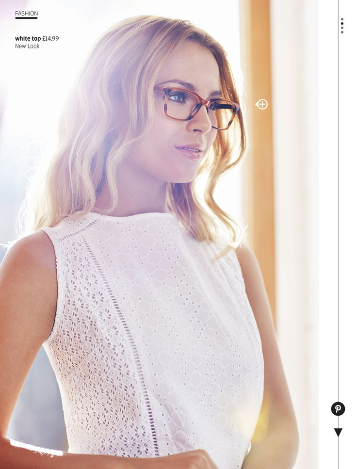 Keep it stylishly simple with a white lace top and tortoiseshell specs.