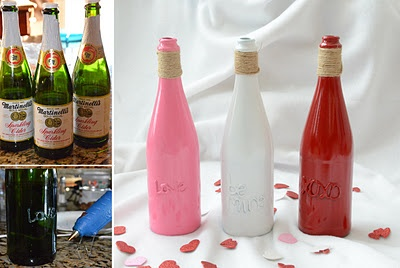 glass bottles, glue gun, and spray paint ... love!