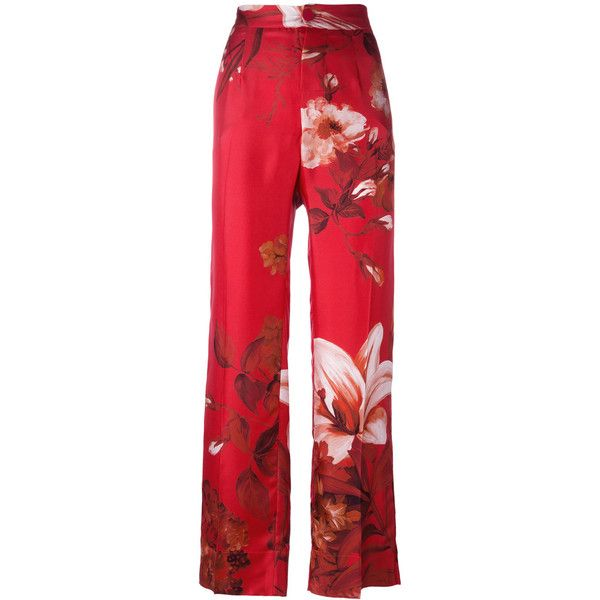 F.R.S For Restless Sleepers high-rise floral print trousers ($605) ❤ liked on Polyvore featuring pants, red, highwaist pants, high-waisted pants, high rise trousers, silk pants and red high waisted pants