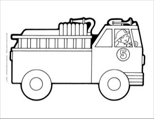 fire truck bw reproducible pattern  fire safety lesson