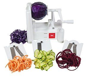 Paderno World Cuisine A4982799 Tri-Blade Plastic Spiral Vegetable Slicer - best for spiralizing bigger vegetables like sweet potatoes - Amazon has for $29.90