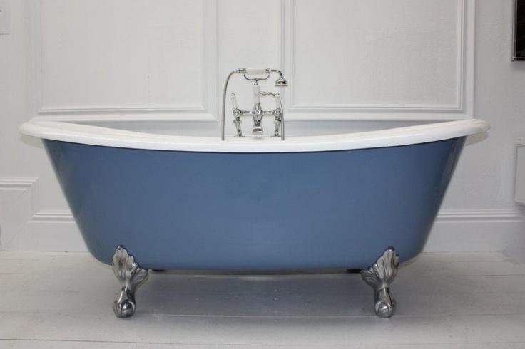 Bateau Bath with painted Providence Blue exterior on polished aluminium Fleur-de-Lis feet.