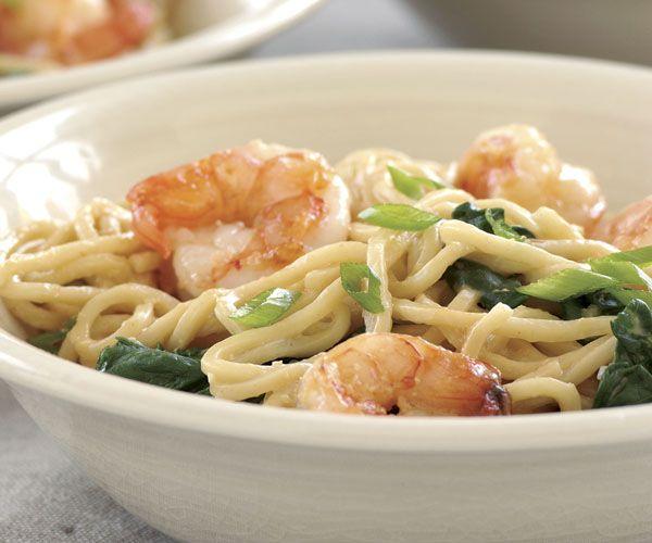 Stir-Fried Shrimp with Spinach & Peanut Noodles | Recipe