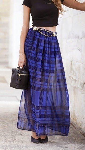 Стильные юбки макси в образах 1