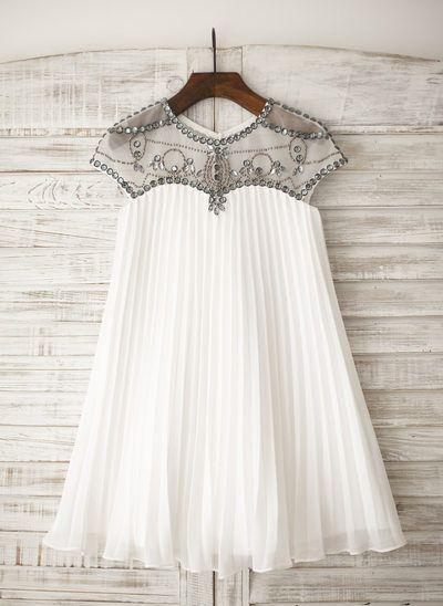 A-Line/Princess Knee-length Flower Girl Dress - Chiffon Short Sleeves Scoop Neck With Rhinestone