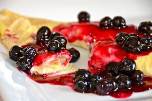 """Crepes with sweet cheese filling and citrus blueberry sauce or Ukranian """"Nalisniki"""" - Delights Of Culinaria"""