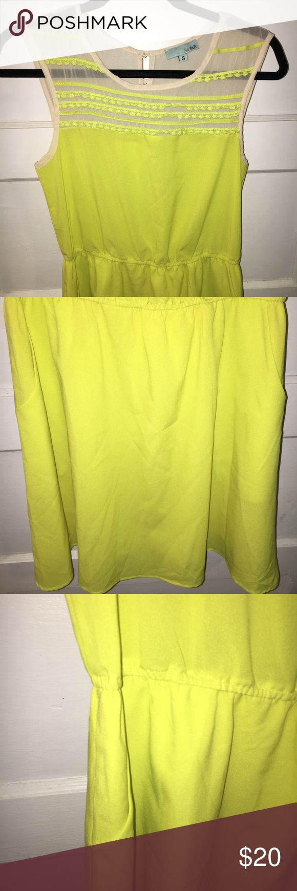 NEON COLOR DRESS W/ SHEER TOP. SIZE SML E & II & E NEON COLOR DRESS W/ SHEER TOP. SIZE SMALL. BUTTONS IN BACK AT TOP. MINI LENGTH. LIGHTWEIGHT. SUMMER DRESS. EXCELLENT CONDITION. MAKE AN OFFER. Dresses Mini