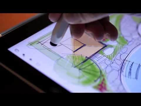 Sketching a backyard landscape design on the iPad