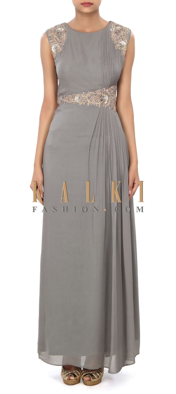 Buy Online from the link below. We ship worldwide (Free Shipping over US$100) Price- $189 Click Anywhere to Tag http://www.kalkifashion.com/grey-gown-enhanced-in-pleats-and-french-knot-work-only-on-kalki.html