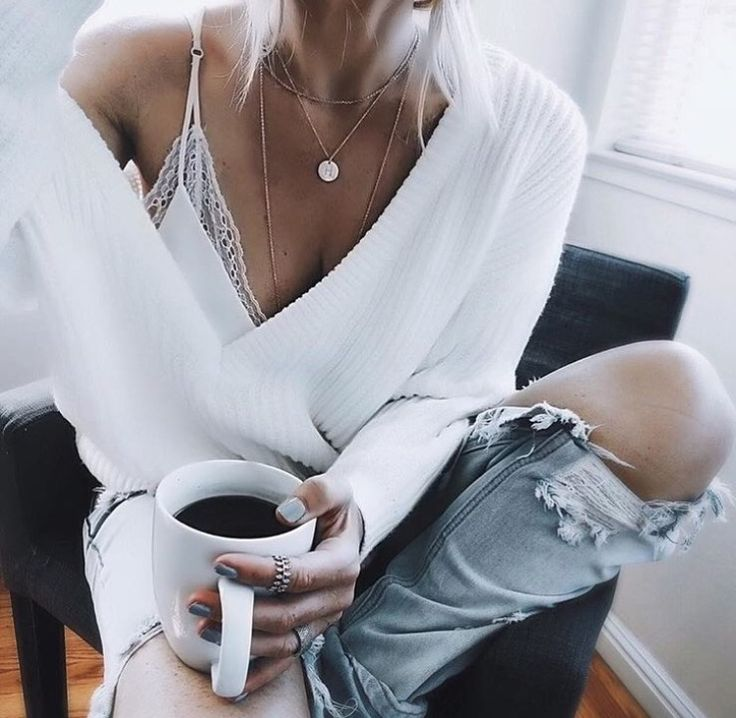White jumper and coffee