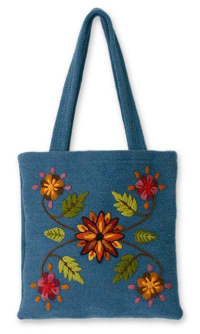 Novica Wool shoulder bag, Valley Flower - Artisan Crafted Floral Wool Embroidered Shoulder Bag