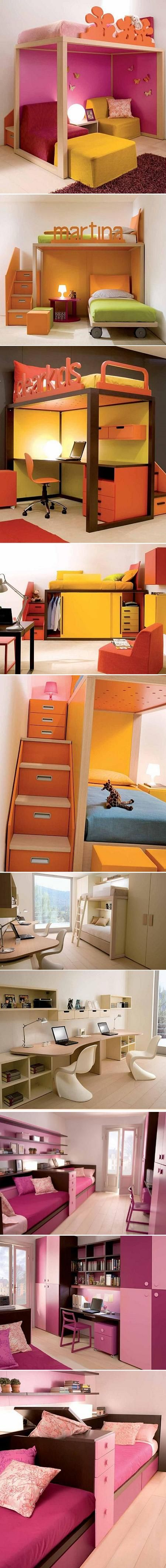 Great ideas to maximize a small space. Particularly liked the loft beds to create storage or usable space underneath.