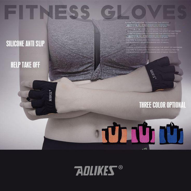 AOLIKES 1 Pair anti-selip Pria & Wanita Olahraga Kebugaran Sarung Tangan Latihan Pelatihan Gym Sarung Tangan Body Building Crossfit
