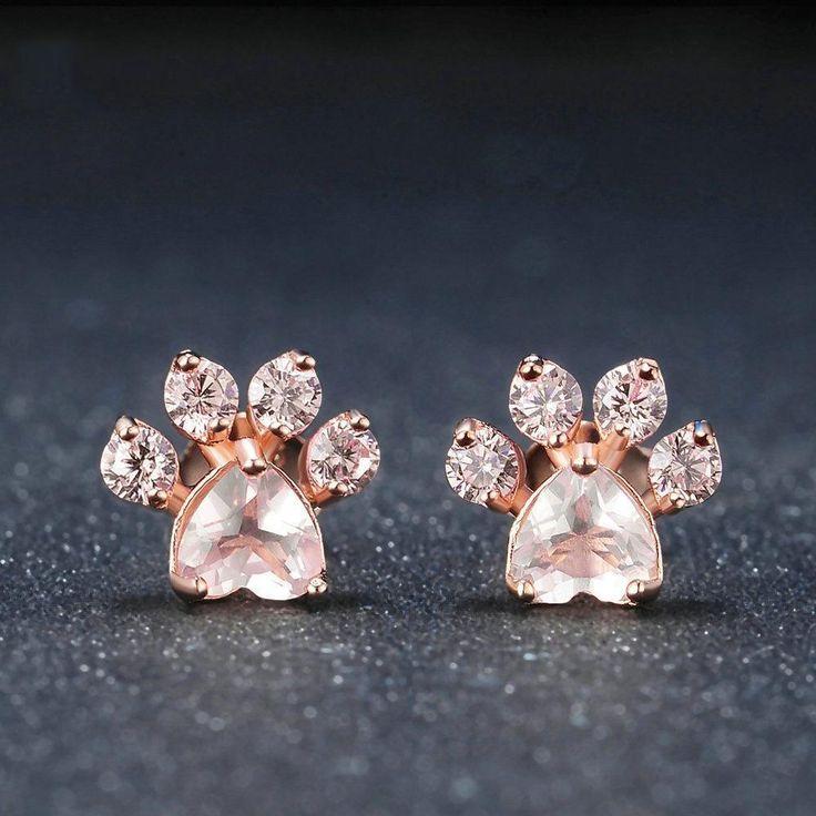 Cutest Paw Cut Created Natural Rose Quartz Earrings