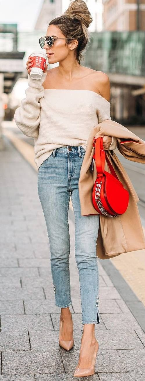 trendy outfit idea : off shoulder top + red bag + coat + rips + nude heels
