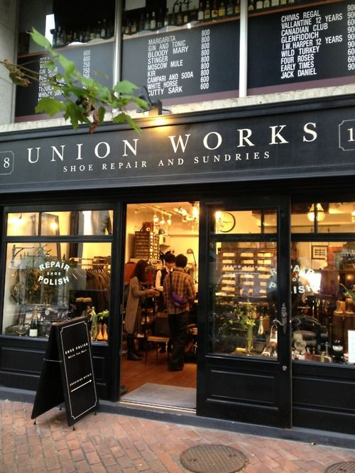 Union Works: Stores Front, Design Ideas, Work Shoes, Black White, Shoes Repair, Union Work, Front Design, Shops Front, Sliding Doors