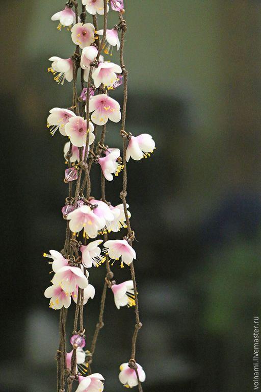 """Купить """"Сакура"""" колье - бледно-розовый, сакура, колье, цветочный, цветы ручной работы"""