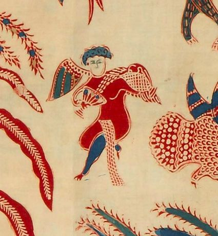 detail:A batik sarung from the studio of Catherina Van Oosterom in Banyumas, Java. During the mid 19th century a new type of batik was invented by a small group of Indo-European women, working traditionally with natural dyes and molten wax applied to cotton by means of a pen (canting). This genre is known as the Indische school and combines both Asian and Western design elements.