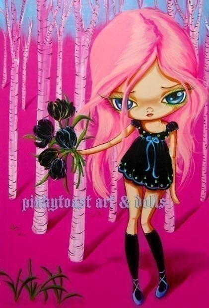 Big Eyed  Pink Forest Tulip Girl Pinkytoast Art by pinkytoast, $13.00
