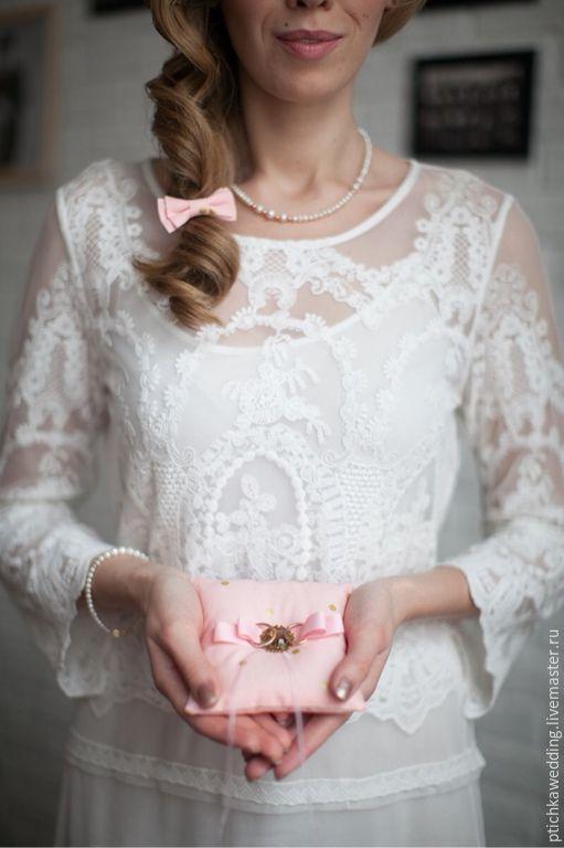 Свадебная подушечка для колец розовая в горошек #свадьба #wedding #креатив #creative #ручнаяработа #handmade #вдохновение #inspiration