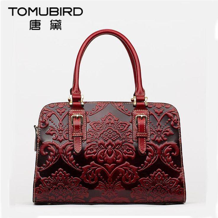 Famous brand top quality Cow Leather women bag   2016 new China style embossed shoulder messenger bag Retro handbag Boston bag