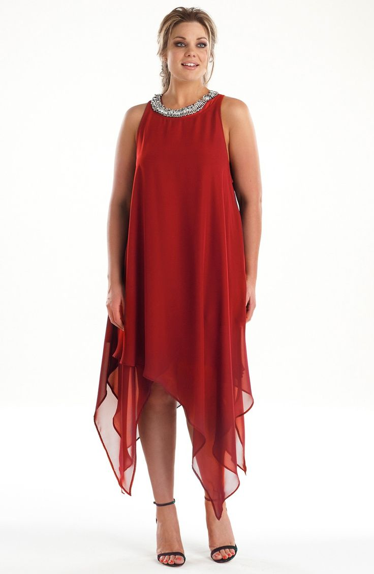 Beaded neckline party dress/red  Style No: ED5106Faux silk party dress with a heavily beaded neckline feature.  This dress has multi layers and a flattering hanky hemline. #2013 #plussize
